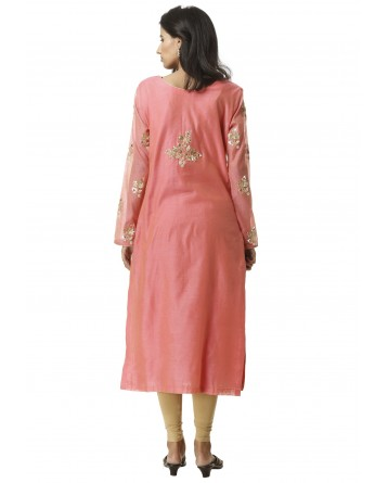 Ranas Straight Fit Chanderi Gota Patti Kurti