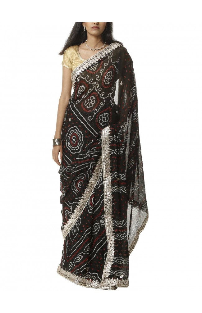 Ranas Black Bhandej Saree