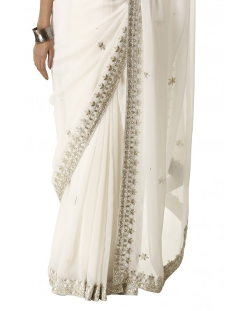 Ranas Off White Gota Patti Saree