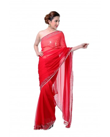 Ranas Red Pure Geogette Saree