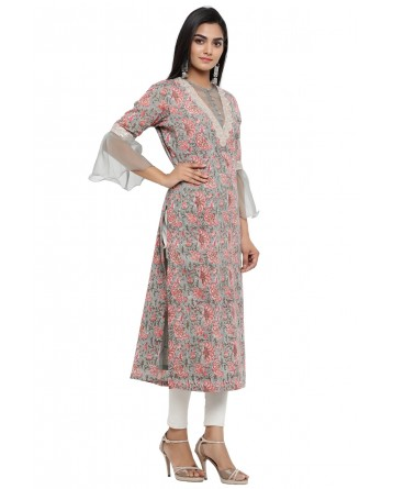 Ranas Grey Color Block Print Kurti