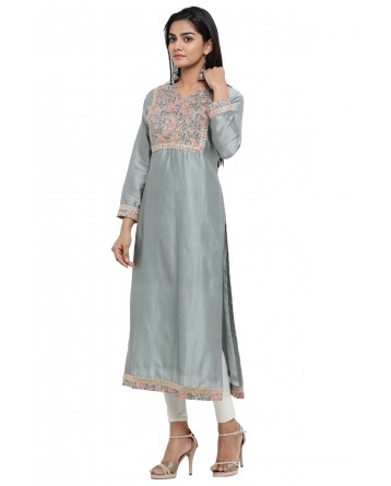 Ranas Grey Color Chanderi Kurti
