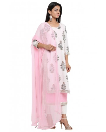 Ranas White & Pink  Cotton Block Print Suit