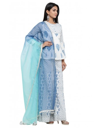 Ranas White Block Print Cotton Suit