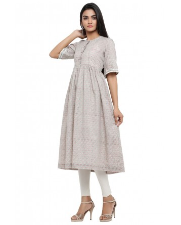 Ranas Grey Color Cotton Block Print Kurti