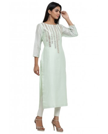 Ranas Sea Green Chanderi Kurti
