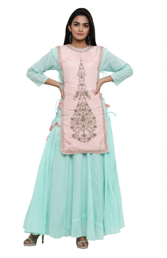Ranas Sea Green & Peach Kurti