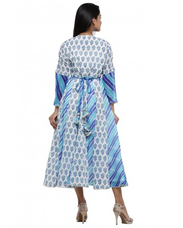 Ranas White & Blue Cotton Block Print Kurti