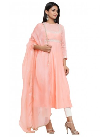 Ranas Peach Color Chanderi Suit