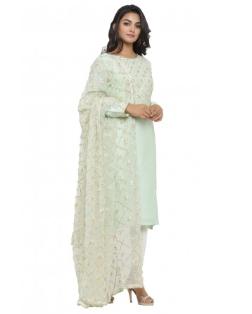 Ranas Sea Green Chanderi Suit