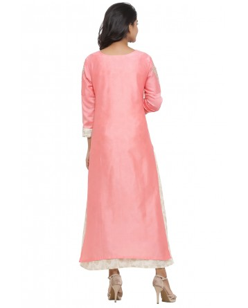 Ranas Pink & Off white Chanderi Kurti