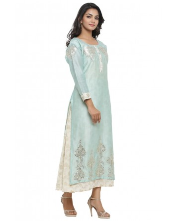 Ranas Pista Green & Off White Chanderi Kurti