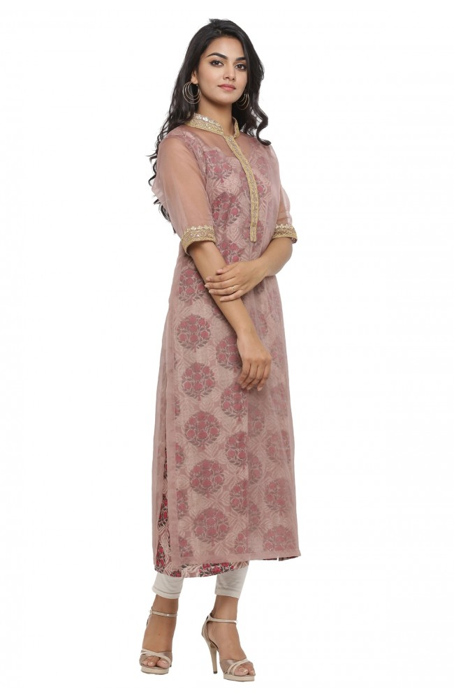 Ranas Brown Color Block Print Kurti