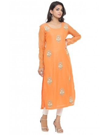 Ranas Orange Color Chanderi Kurti