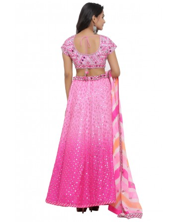 Ranas Pink Shaded Gota Patti Lehenga
