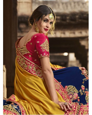 DESIGNER BLUE & YELLOW SAREE