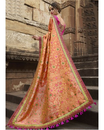 DESIGNER PEACH COLOR SAREE