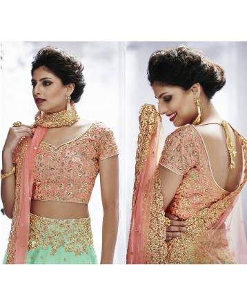 DESIGNER PEACH COLOUR LEHENGA