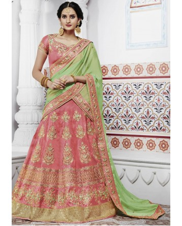 DESIGNER LEHENGA PEACH COLOUR