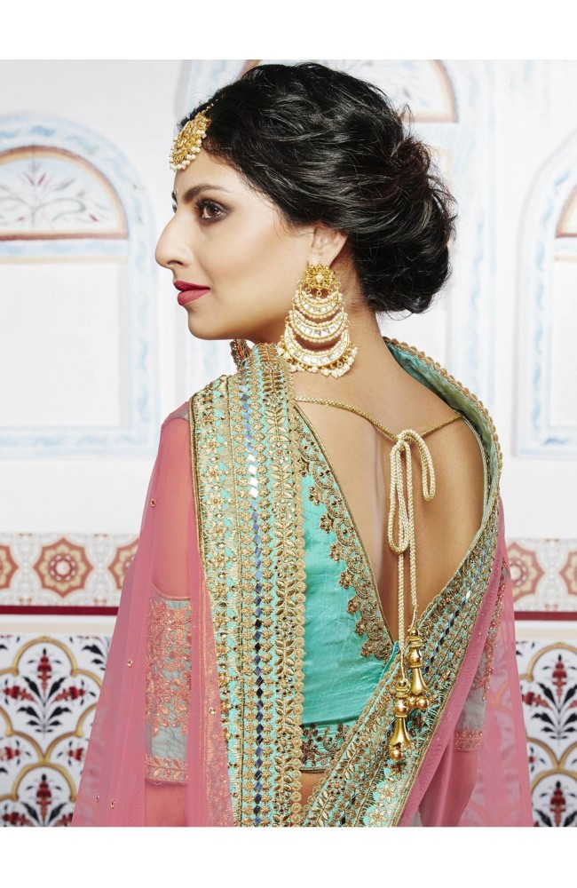 DESIGNER LEHENGA RAMA GREEN COLOR
