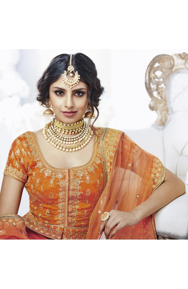 DESIGNER LEHENGA ORANGE COLOR