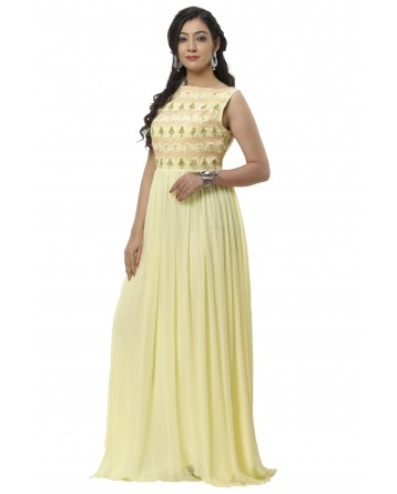 Ranas Yellow Color Chiffon Kurta