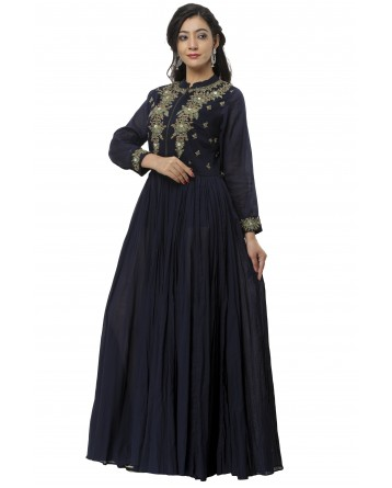 Ranas Blue Color Cotton Gown