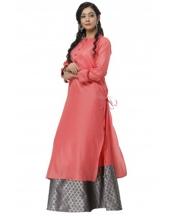 Ranas Peach & Self Grey Long Kurti
