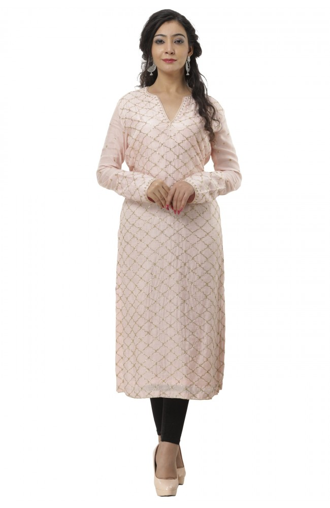 Ranas Peach Color Chanderi Kurti