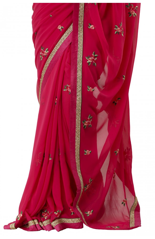 Ranas Rani Color Faux Georgette Saree