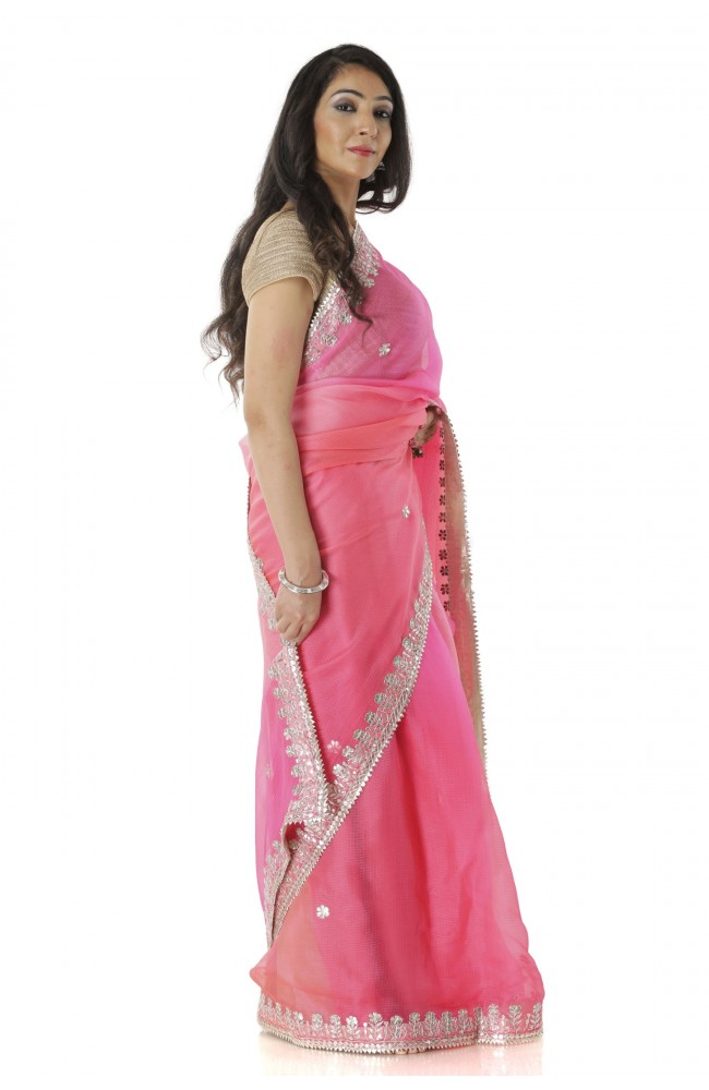 Ranas Peach & Pink Saree