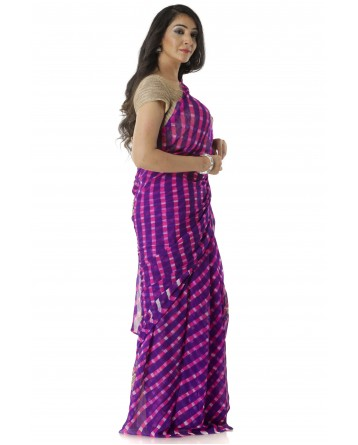 Ranas Purple Leheriya Saree