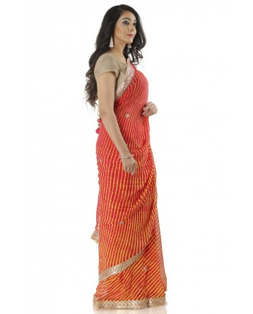 Ranas Yellow & Red Leheriya Saree