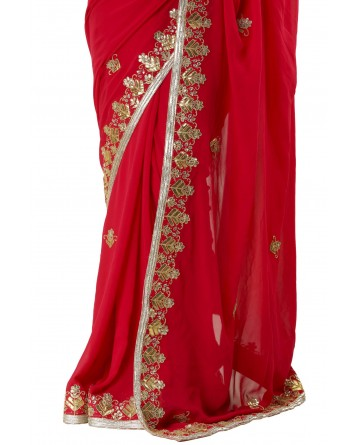 Ranas Red Color Gotta Patti Saree