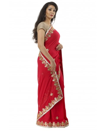 Ranas Red Color Gota Patti Saree
