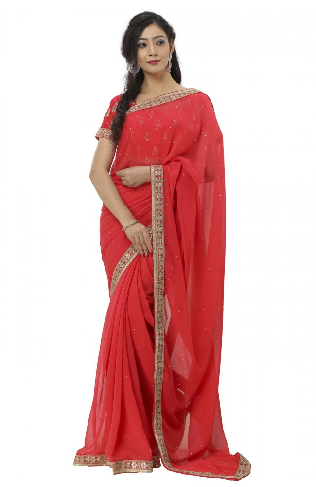 Ranas Red Color Faux Georgette Saree