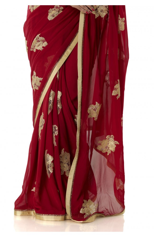 Ranas Mehroon Color Georgette Saree