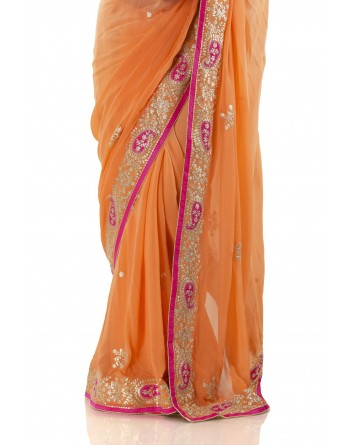 Ranas Orange Color Georgette
