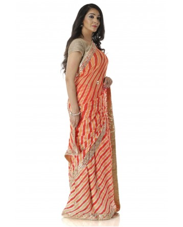 Ranas Orange Leheriya Saree