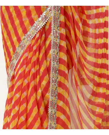 Ranas Orange Leheriya Gota Patti Saree