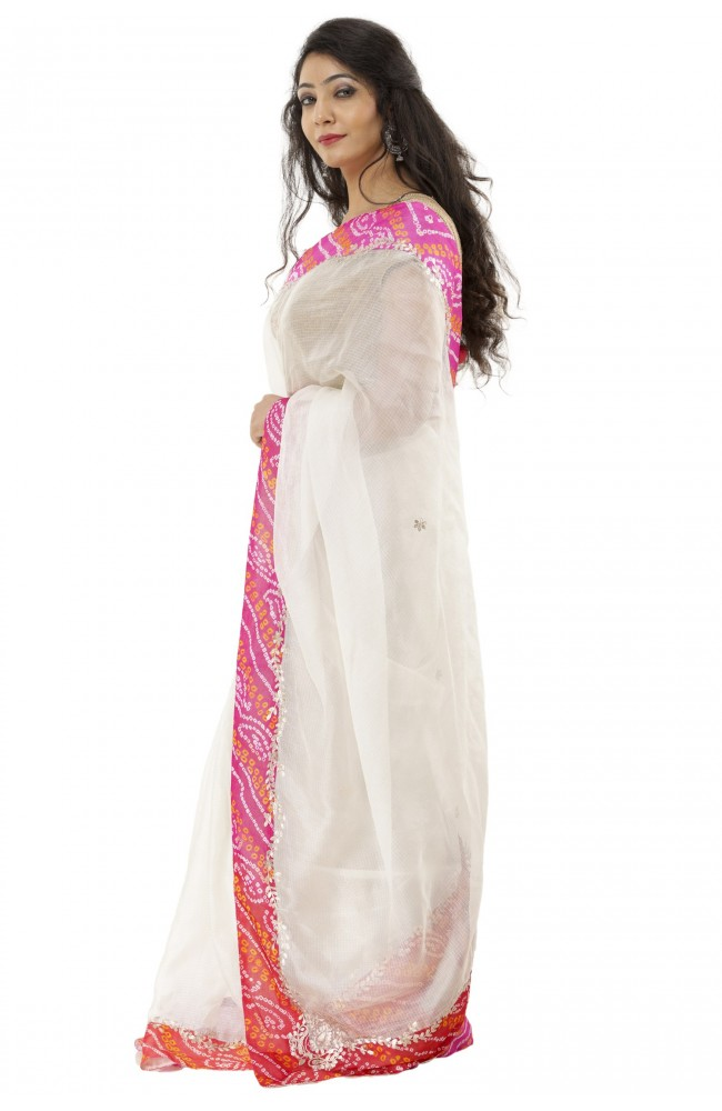 Ranas White Color Kota Silk Saree