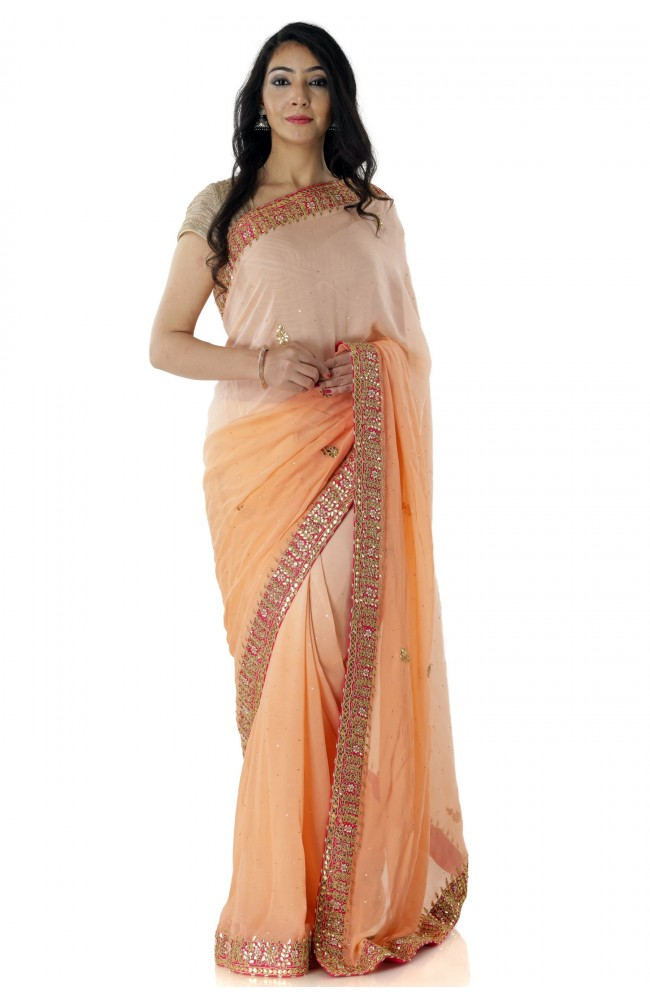 Ranas Peach Shaded Gota Patti Saree