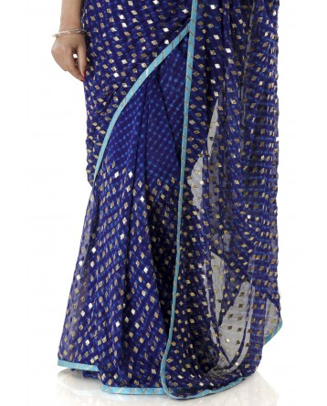 Ranas Blue Mothda Gota Patti  Saree
