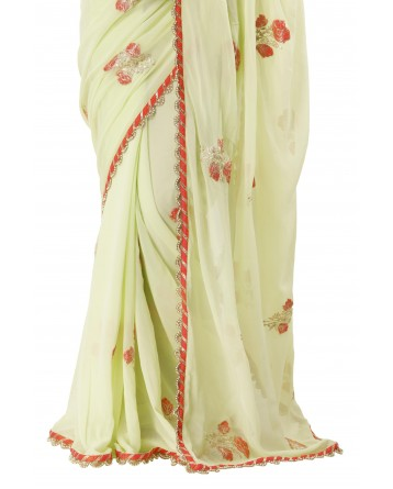 Ranas Pista Green Georgette Saree
