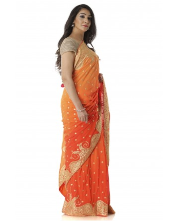 Ranas Orange Shaded Georgette Saree