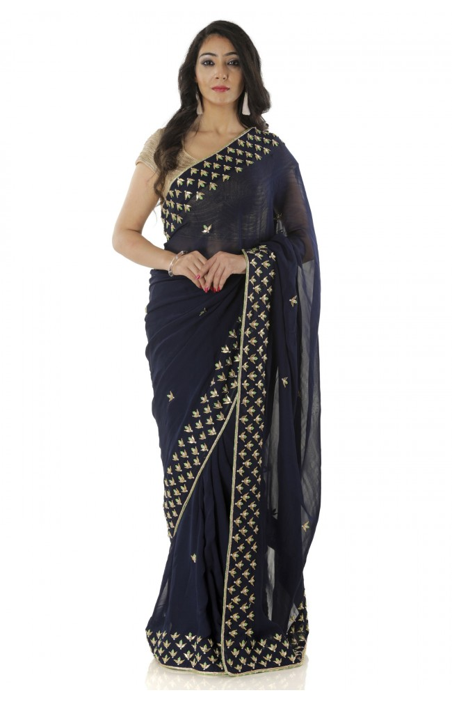 Ranas Blue Color Gotta Patti Saree