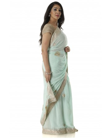 Ranas Sea Green Color Georgette Saree