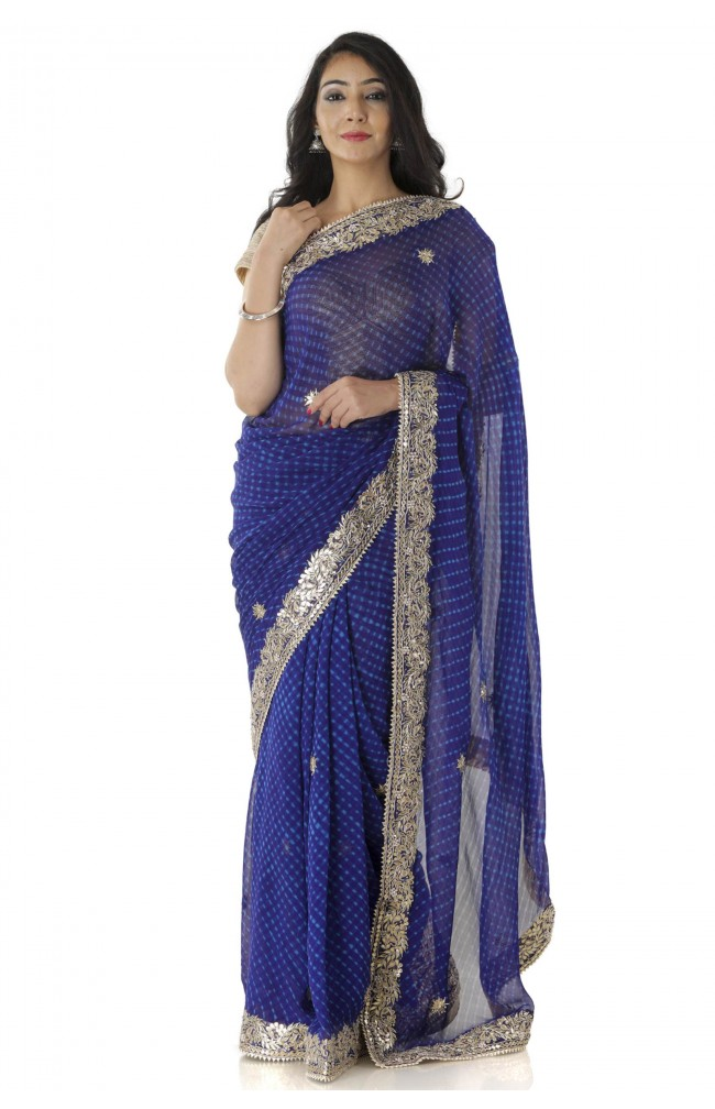 Ranas Blue Mothda Gotta Patti Saree