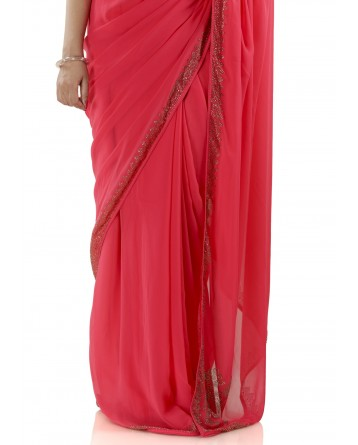 Ranas Red Color Georgette Saree