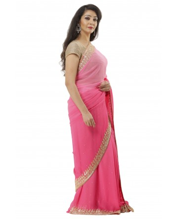 Ranas Pink shaded Chiffon Saree